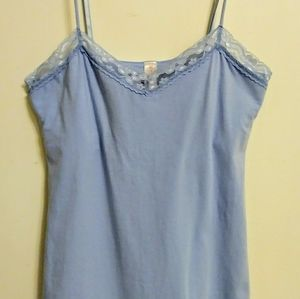 Baby blue Cami with Lace Trim